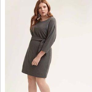 Drop Shoulder Sweatshirt Dress with Self Tie -dark grey 2X super cute and casual